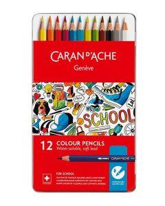 Caran d'Ache vannløselige fargeblyanter 12 stk