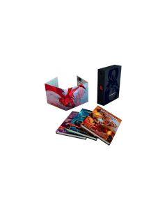 Dungeons & Dragons 5th Edition Core Rulebooks Gift Set - gavesett som inneholder et eksemplar av de tre regelbøkene til spillet - Player's Handbook, Dungeon Master's Guide og Monster Manual, samt en Dungeon Master Screen.