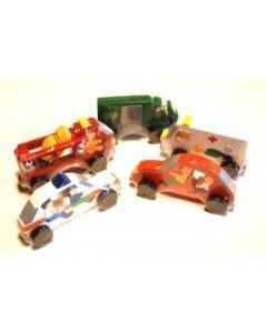 SRI Toys Trelekesett Fem Store Puslebiler